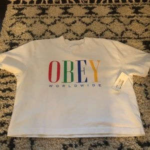 NWT Obey cropped T-shirt